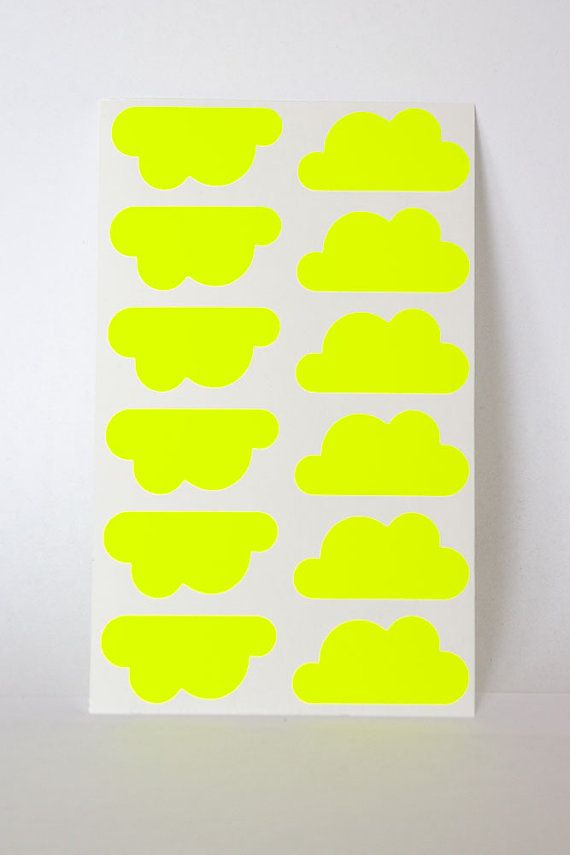 yellow neon sticker cloud sticker geometric sticker paper label