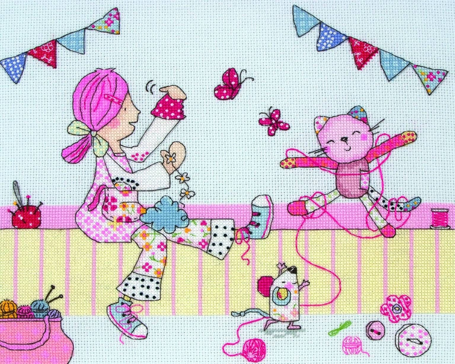 This is one of our personal favourites of the new range of Emily Button cross stitch kits - for obvious reasons. Emily herself loves crafting too; she even lives in a sewing box!  The popular character captures the fun of crafting in a colourful and fun-to-make pattern for girls both young and old. #EmilyButton #CrossStitch #Crafting