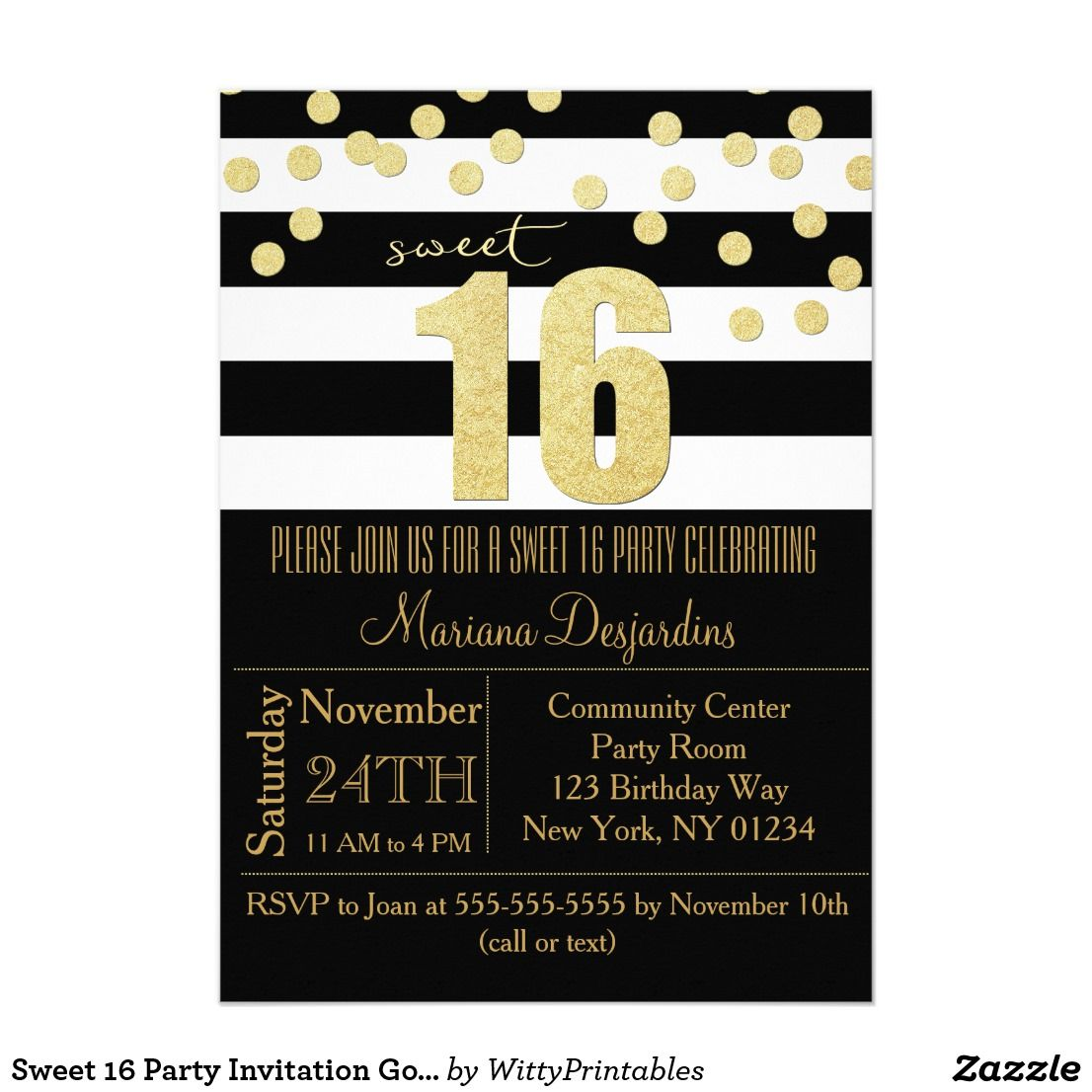 Sweet 16 Party Invitation Gold Black White Sweet 16 Party