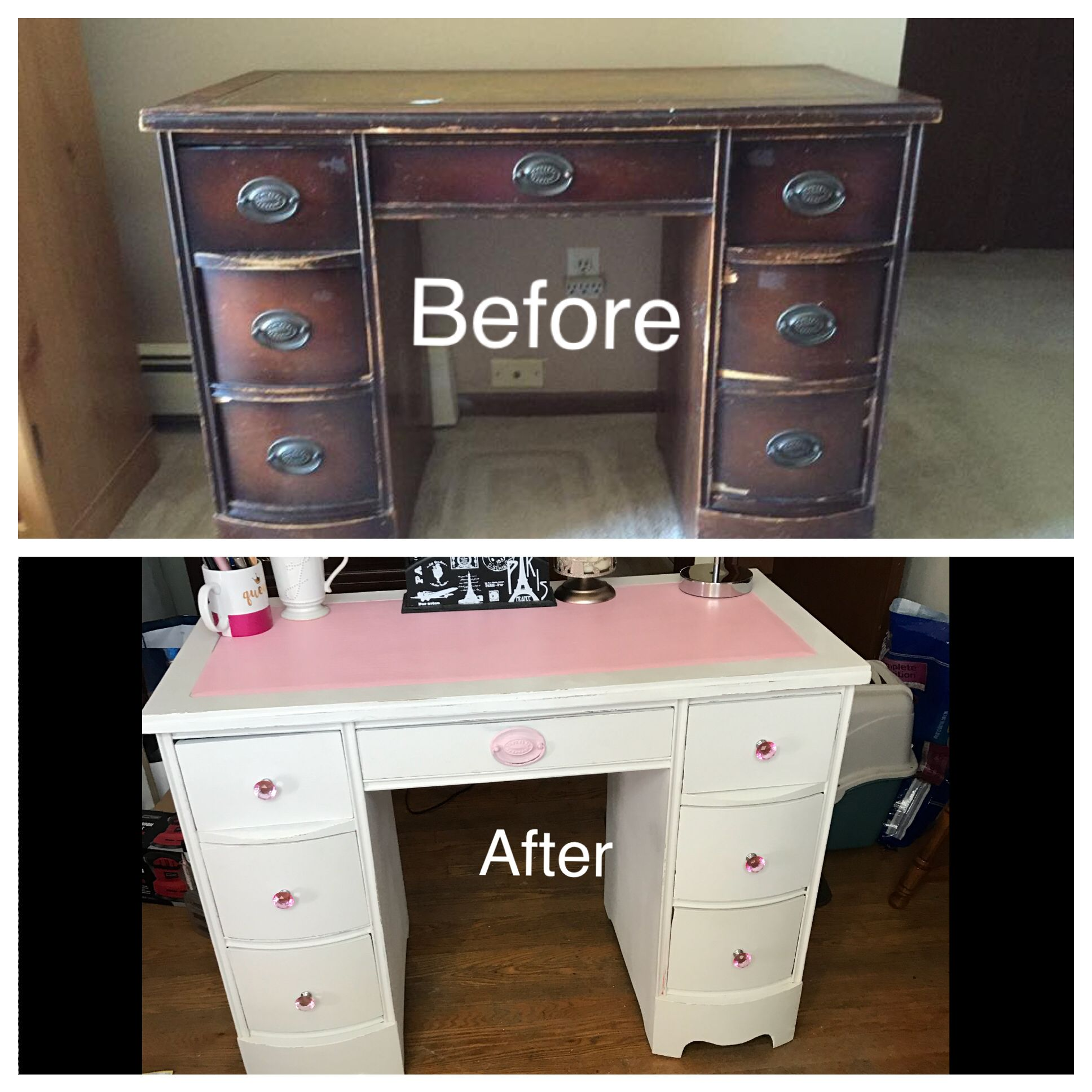 Desk Turned Into Pink And White Makeup Vanity Diy Makeup Desk Diy Makeup Vanity Desk Makeover