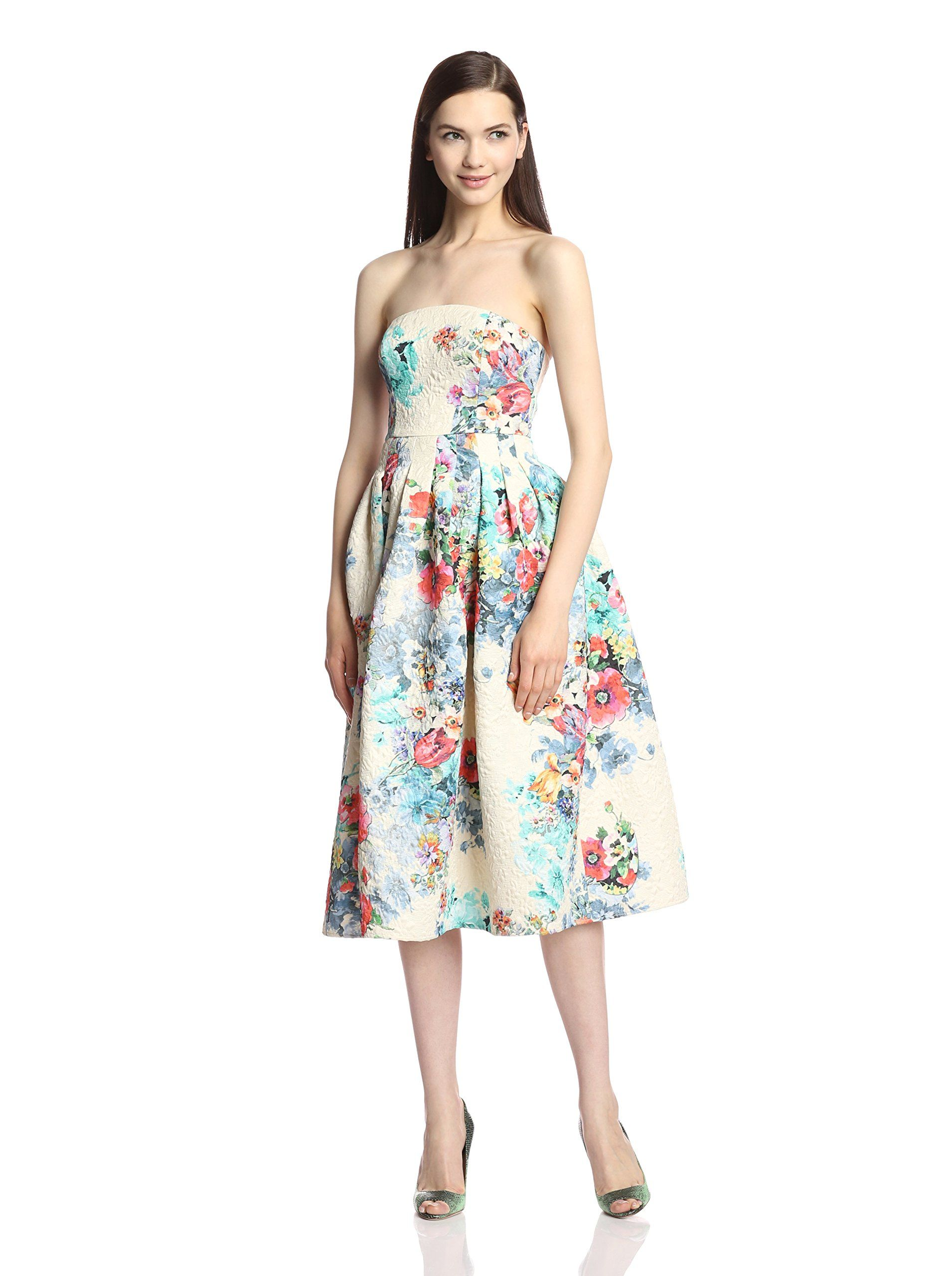 womens tea length floral cocktail dresses