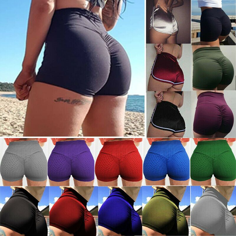 Womens High Waist Yoga Shorts Booty Hip Push Up Running Fitness Gym Hot Pants US