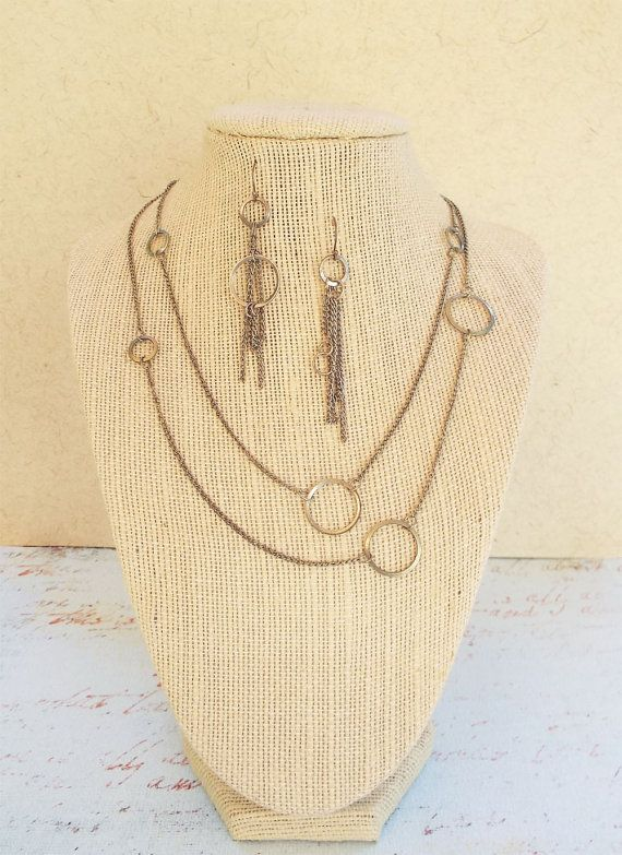 Modern Metal Circle and Chain Necklace and by CarrieJacksonStudios, $50.00