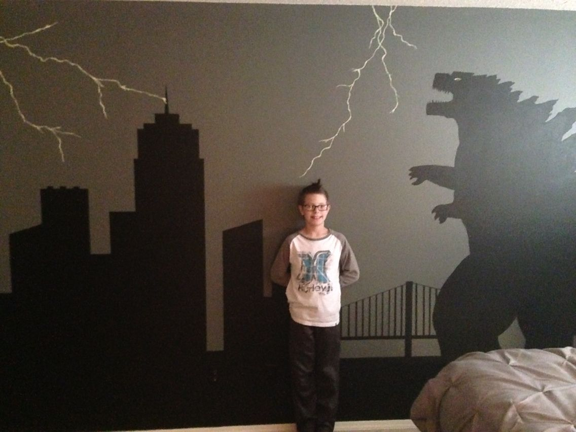 Best My Godzilla Obsessed Son Loves His Bedroom Wall Mural 640 x 480
