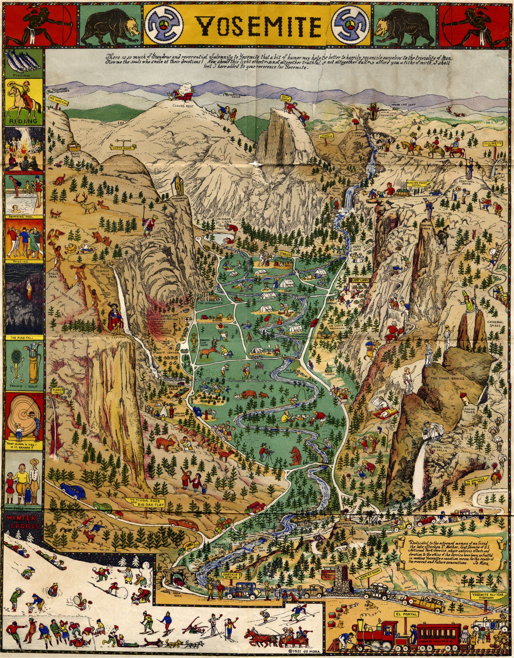 Map Of Yosemite National Park From   Go In The Early Spring - Vintage los angeles map poster