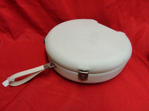 Vintage White Round Suitcase Old Ge Hard Plastic Hair Dryer Case