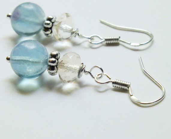 Fluorite and Czech Earrings Sterling Silver Earrings by harmony5, $18.00