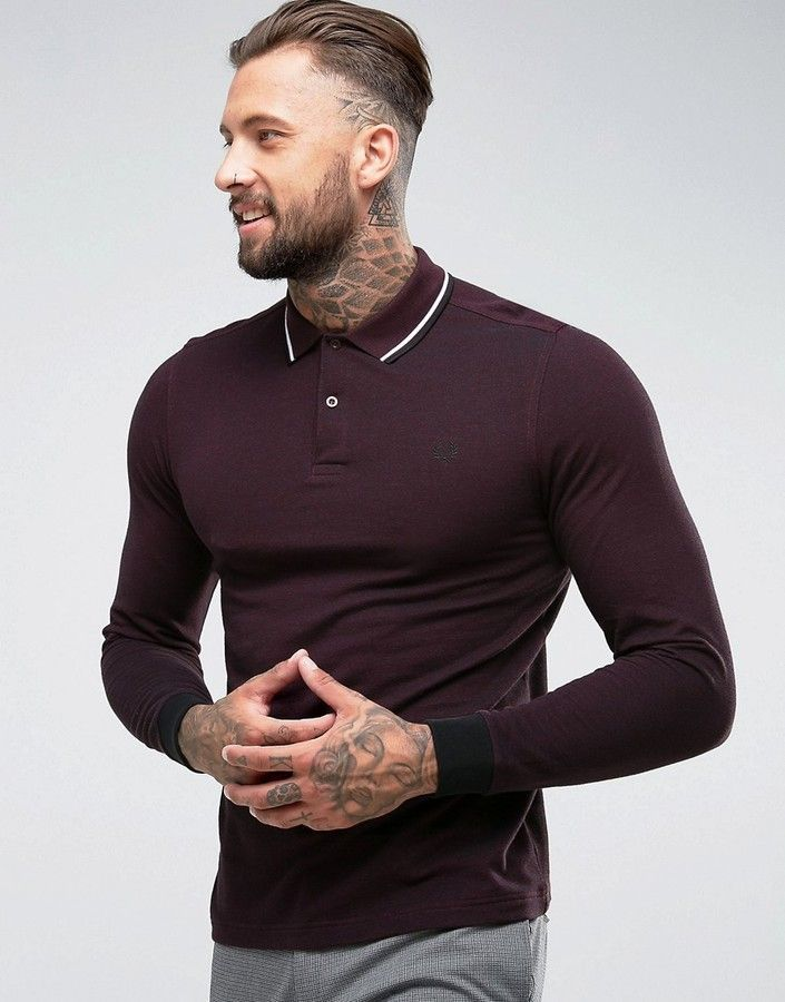 84ee8b339 Fred Perry Slim Fit Long Sleeve Tipped Oxford Weave Polo In Burgundy ...