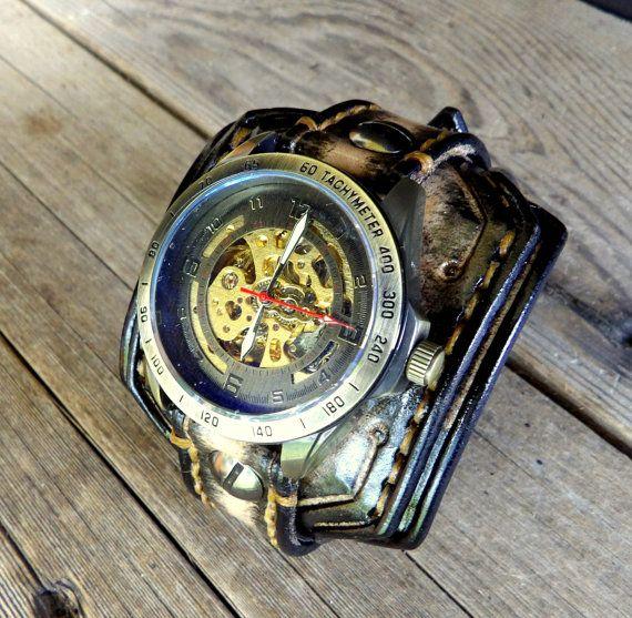 Steampunk Leather Watch Manschette Herren von CuckooNestArtStudio