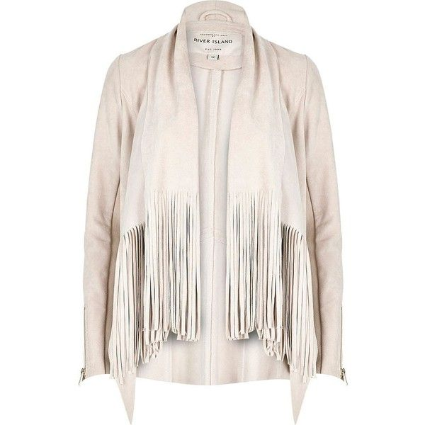 4ac5545f0a92 River Island Cream faux suede fringed jacket (£83) ❤ liked on Polyvore  featuring