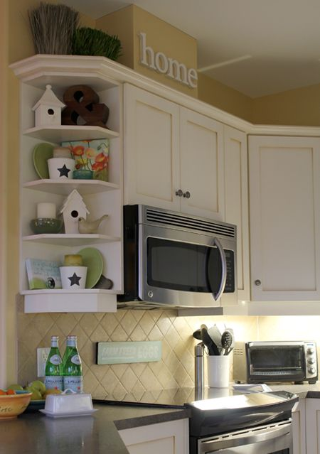 i have a corner shelf just like this and i have never figured out what to do with it - Kitchen Corner Shelf