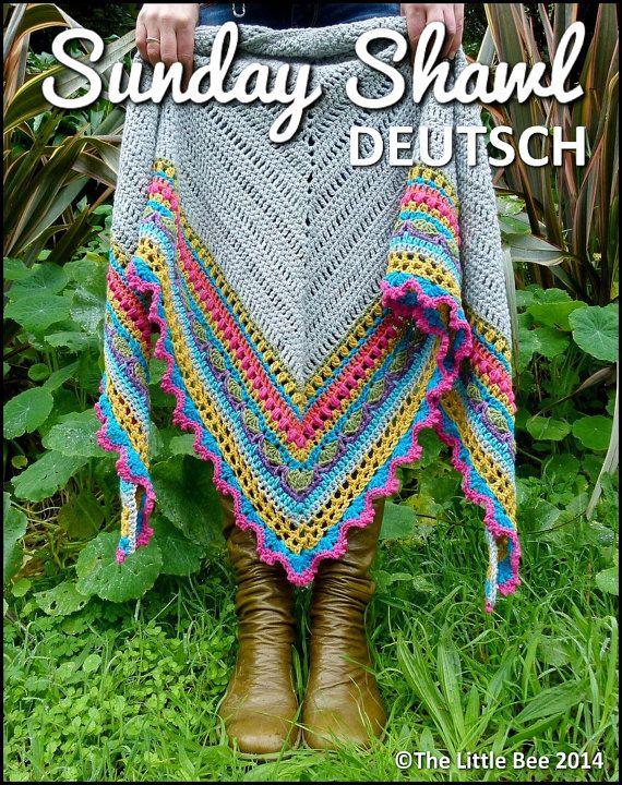 Häkelmuster el domingo chal Deutsch por TheLittleBeeNZ en Etsy ...
