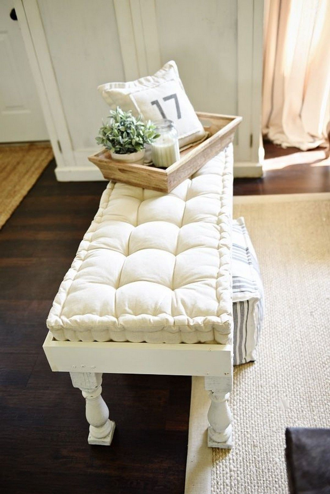 15 DIY Simple End of Bed Bench Bench decor, Farmhouse