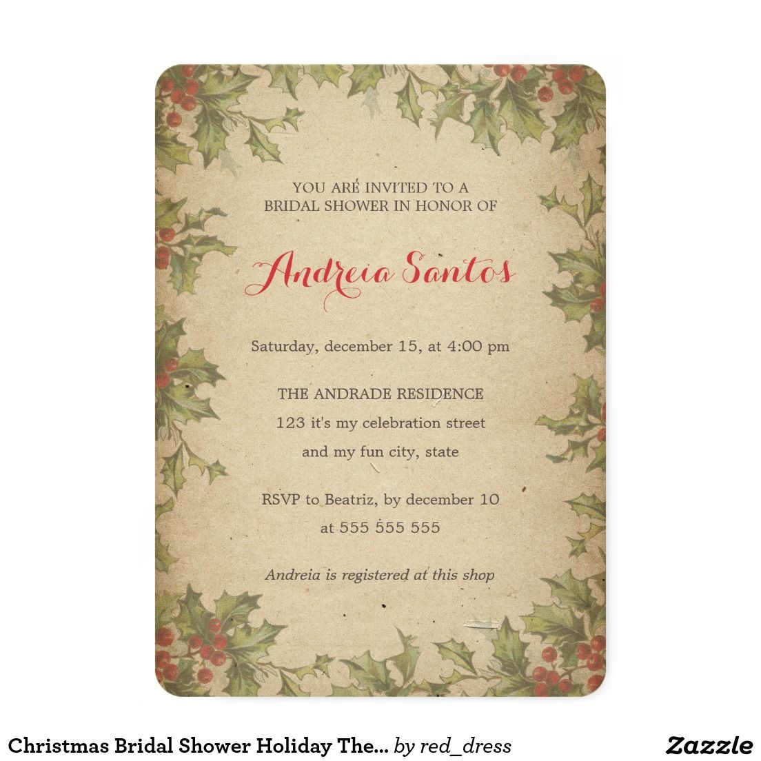 Christmas Bridal Shower Holiday Themed Rustic Card Christmas