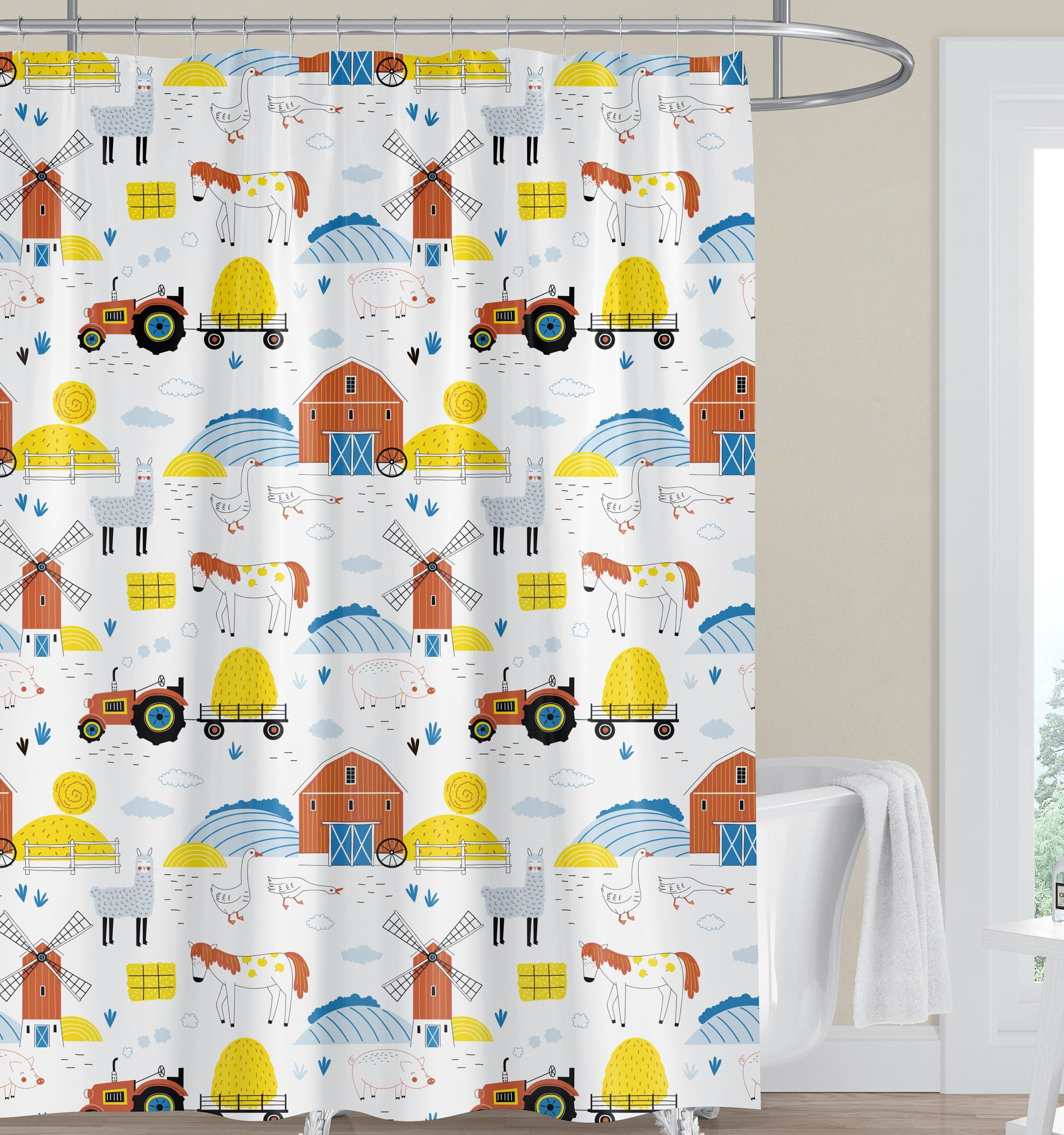 Farm Kids Shower Curtain Horse Children Shower Curtain Boy
