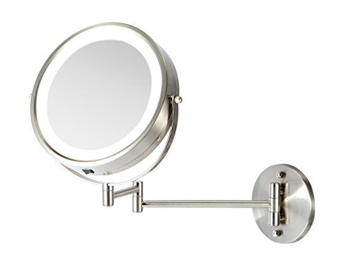 Ovente Battery Operated Led Lighted Wall Mount Vanity Makeup Mirror Nickel Brushed Makeup Mirror Wall Mounted Makeup Mirror Lighted Magnifying Makeup Mirror