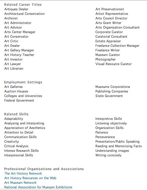 Job titles related to Art History majors taken from