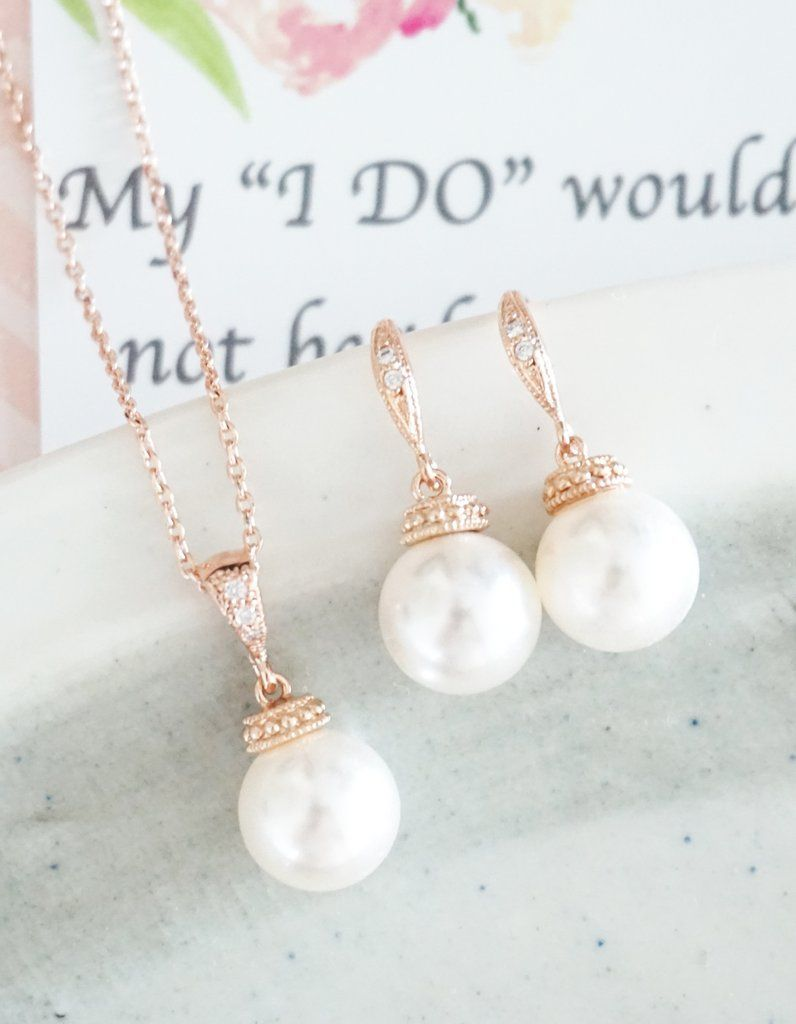 Rose Gold Pearl Jewelry Set simple earrings and necklace bridal