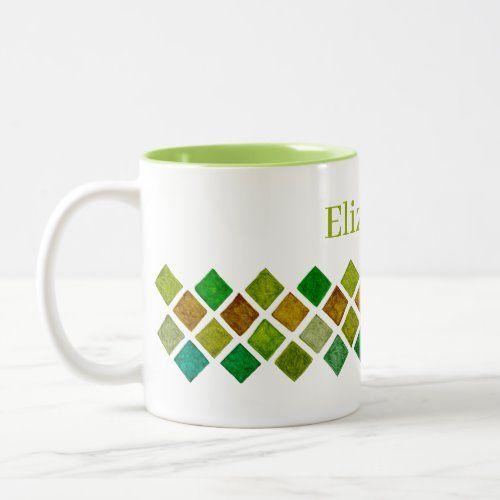Green Rhombuses Two-Tone Coffee Mug  classroom decor, may decorating ideas, whimsical home decor #homedecorinspo #homedecorinspiration #homedecormurah