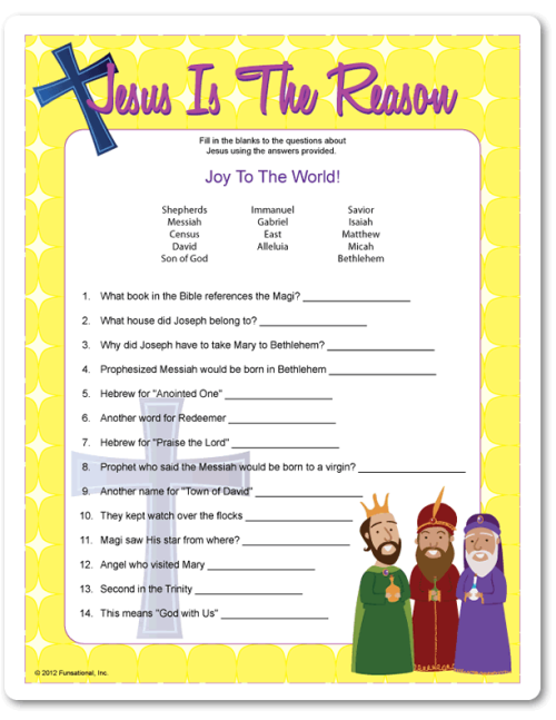 jesus is the reason christmas party game - Christian Christmas Games