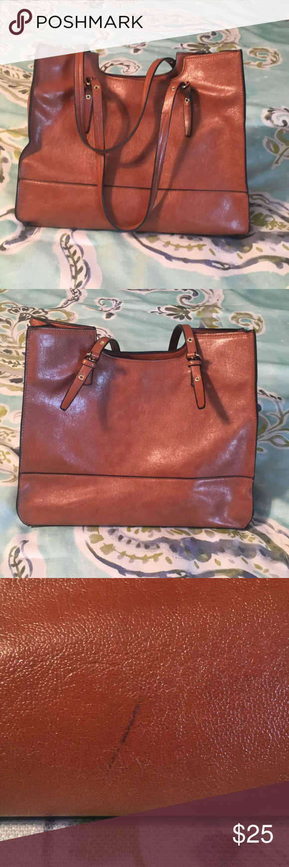 Brown leather-like purse Simple brown leather purse Smoke free home Minor scratches but in great condition  Lots of storage space! Bags Shoulder Bags