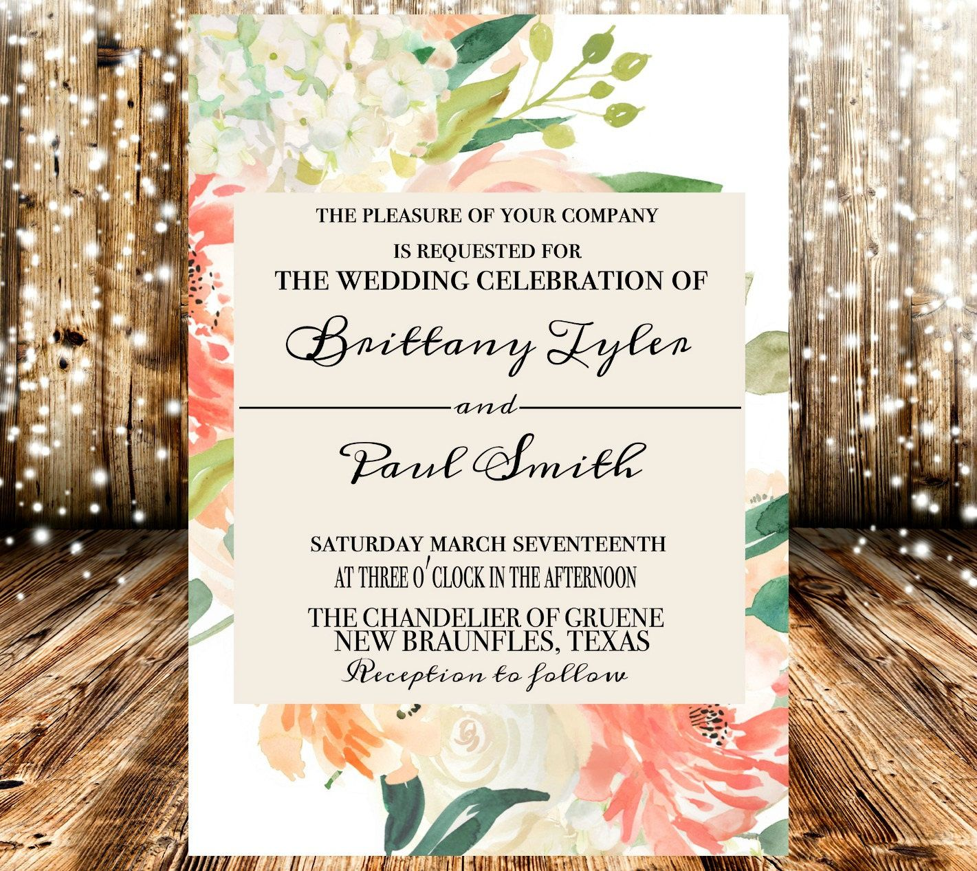 Celebrity Wedding Invites: Peach Cream White Floral Chic Rustic Country Wedding