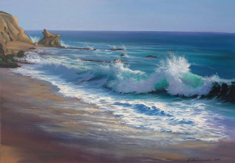 The Sea Surf Caresses The Ears Painting En 2020 Pinturas Paisajes Marinos Paisaje Marino Arte Del Oceano