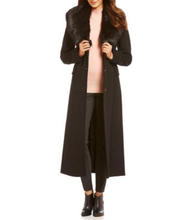 5157e4e8e Calvin Klein Faux-Fur Shawl Collar Maxi Wool Coat #Dillards ...