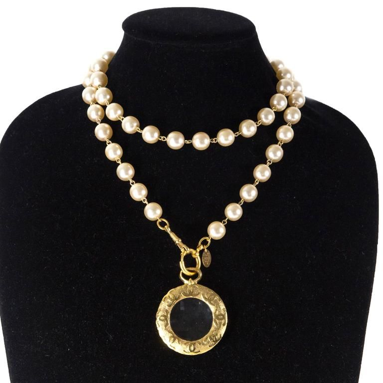 Chanel pearl necklace glass round charm cc medallion gold pendant chanel pearl necklace glass round charm cc medallion gold pendant vintage 1992 aloadofball Choice Image