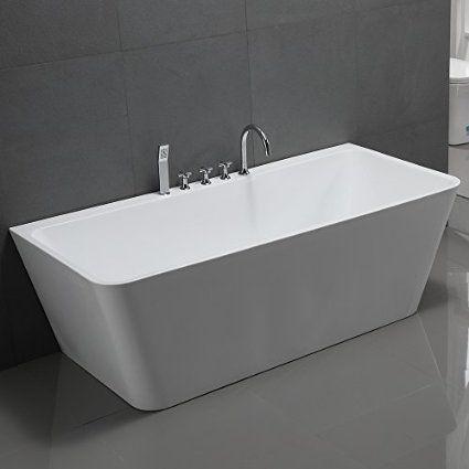 Freistehende Badewanne Sylt 170x80cm Sanitäracryl Weiß Modern - freistehende badewanne