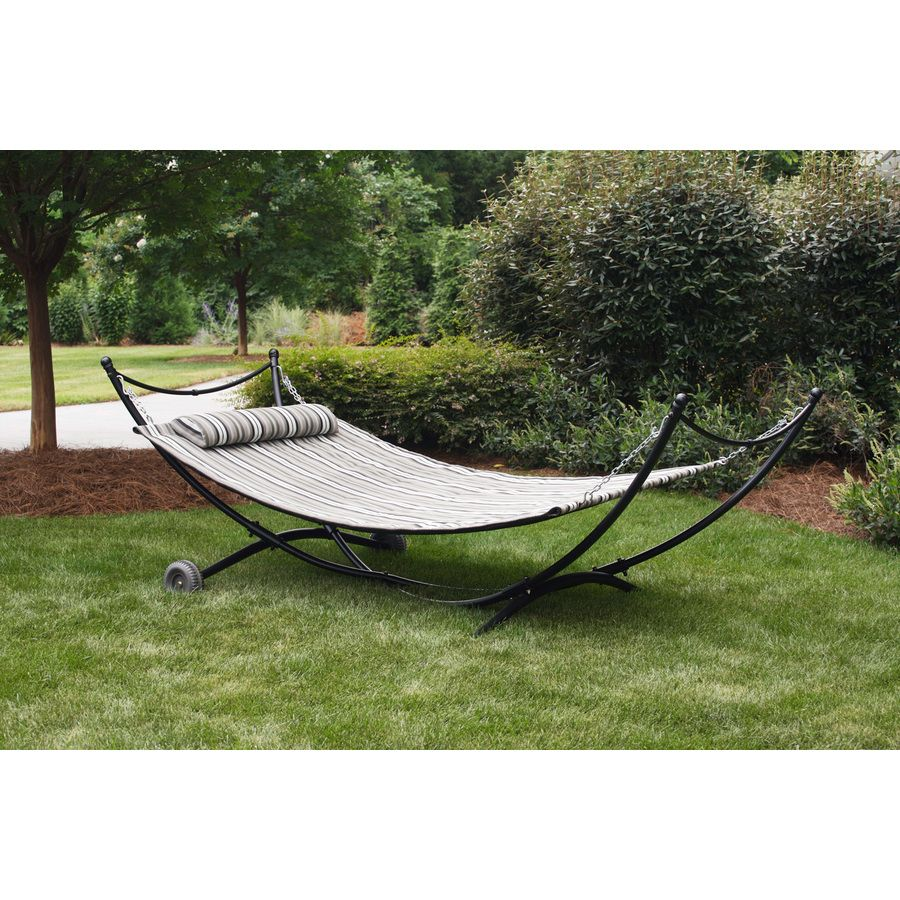 Shop Garden Treasures 9 5 Ft Black Polyolefin Double Hammock With Stand At Lowes Com Backyard Hammock Hammock Stand Hammock
