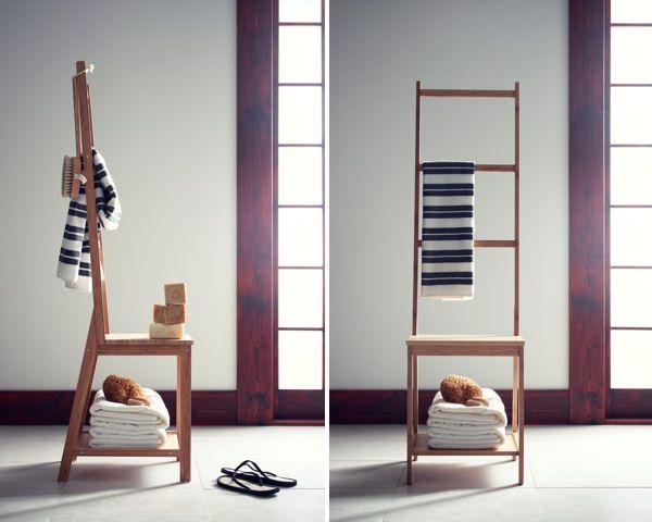 Chaise porte-serviette en bamboo RAGRUND IKEA 35u20ac salle de bain - apothekerschrank küche ikea