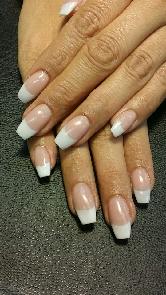 All Acrylic Coffin Ballerina Nails French Tip Acrylic Nails French Tip Nail Designs Trendy Nails