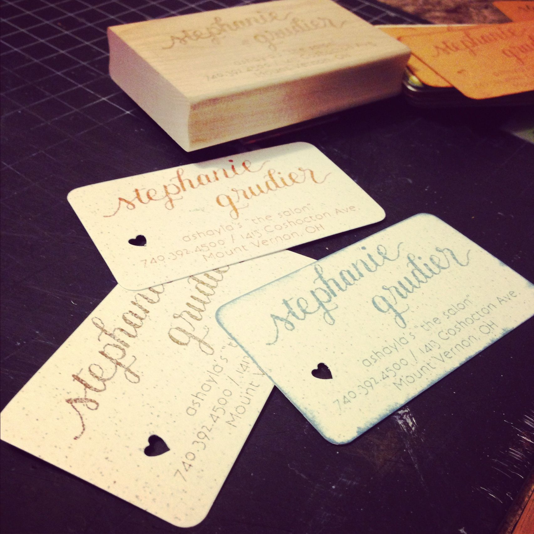 Homemade business cards. Etsy custom stamps by Tine and Thread ...