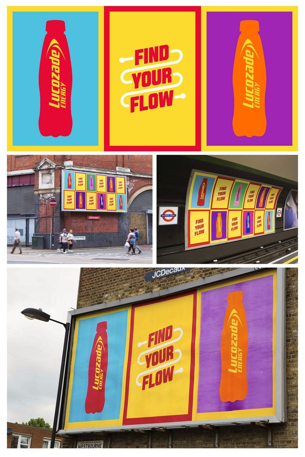 Find Your Flow (Phase 1) by Grey London for Lucozade (Poster Design)