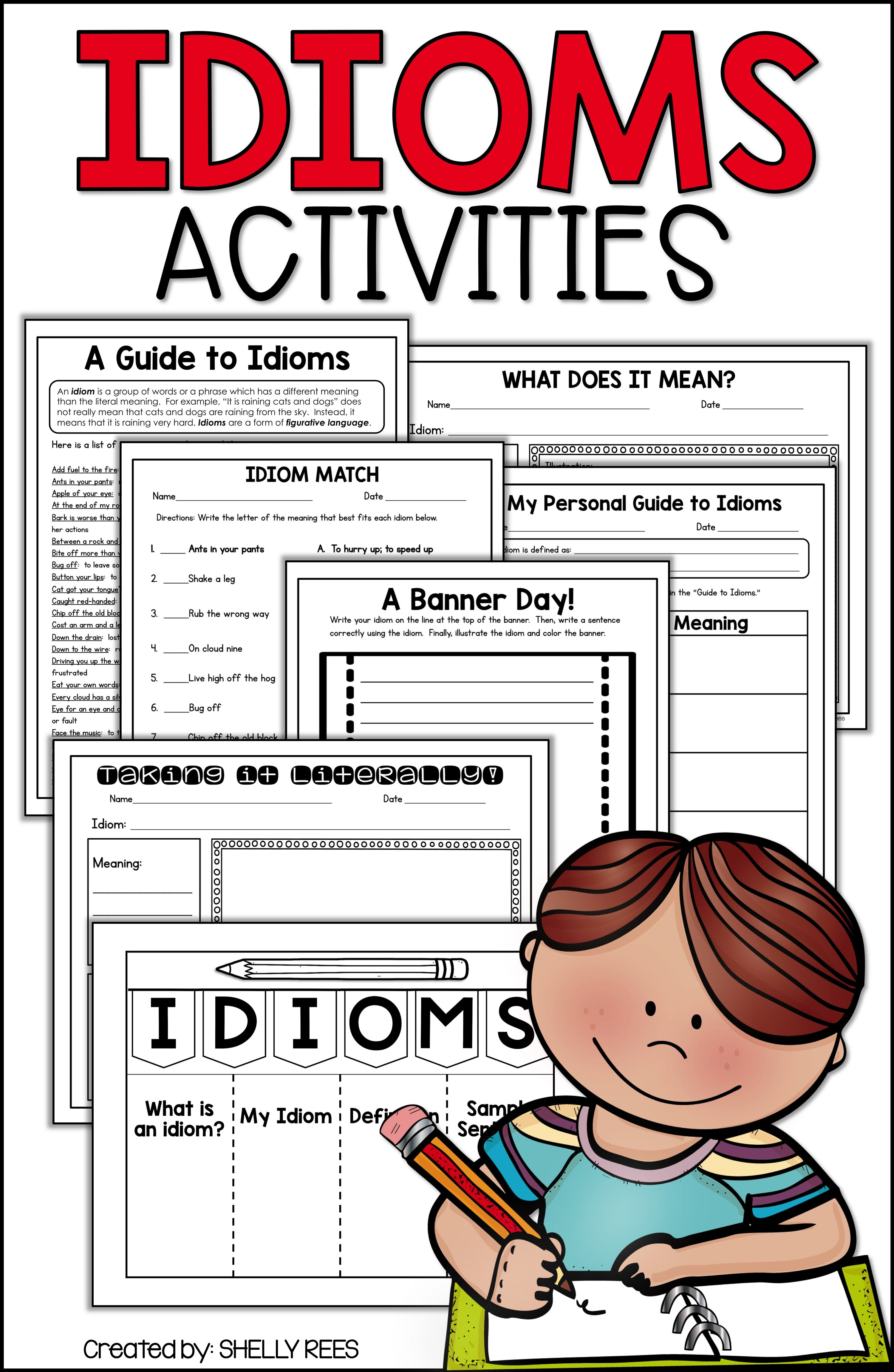 Idioms Worksheets Foldables Student Guide And