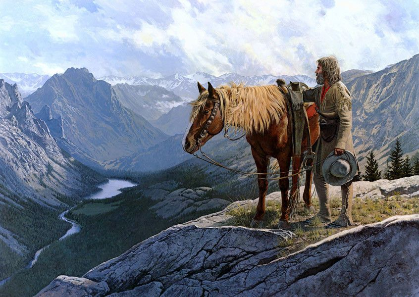 Wall Canvas Print Cowboy Oil Painting Hd Picture On Canvas L1681 Western Art Paintings Mountain Man Western Riding
