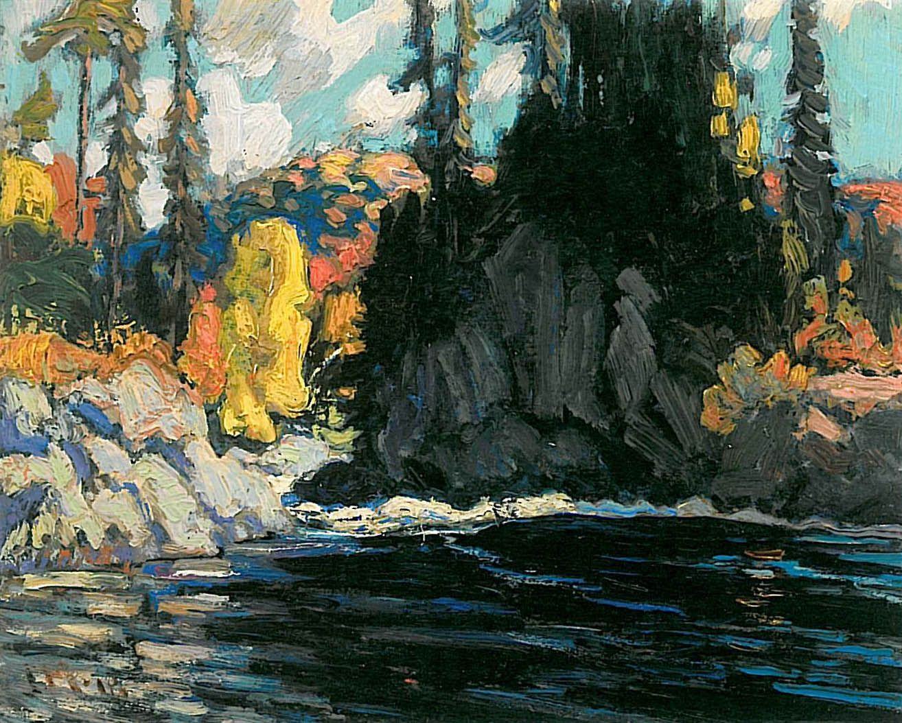 'landscape Sketch Northern Ontario' 1918 Oil Panel