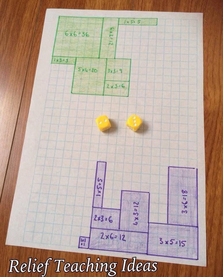 Juego para trabajar las superficies y áreas por parejas. •Cada jugador usa un color •Los jugadores se turnan para tirar el dado y usan los números que obtienen para dibujar el perímetro de un rectángulo o cuadrado escribiendo el área en su interior •El juego acaba cuando no queda más espacio •Gana aquel jugador que consigue más superficie pintada