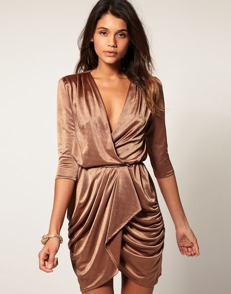 930613a287 Asos Collection Asos Wrap Dress in Metallic in Gold (copper)