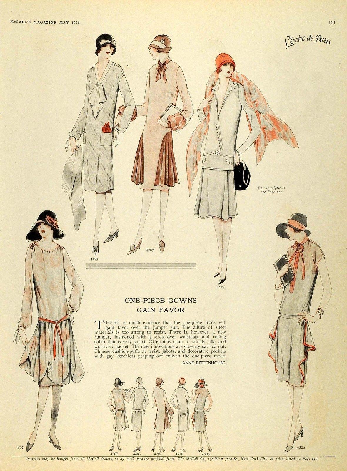 1926 Print McCalls Dressmaking Patterns Womens Flapper ...