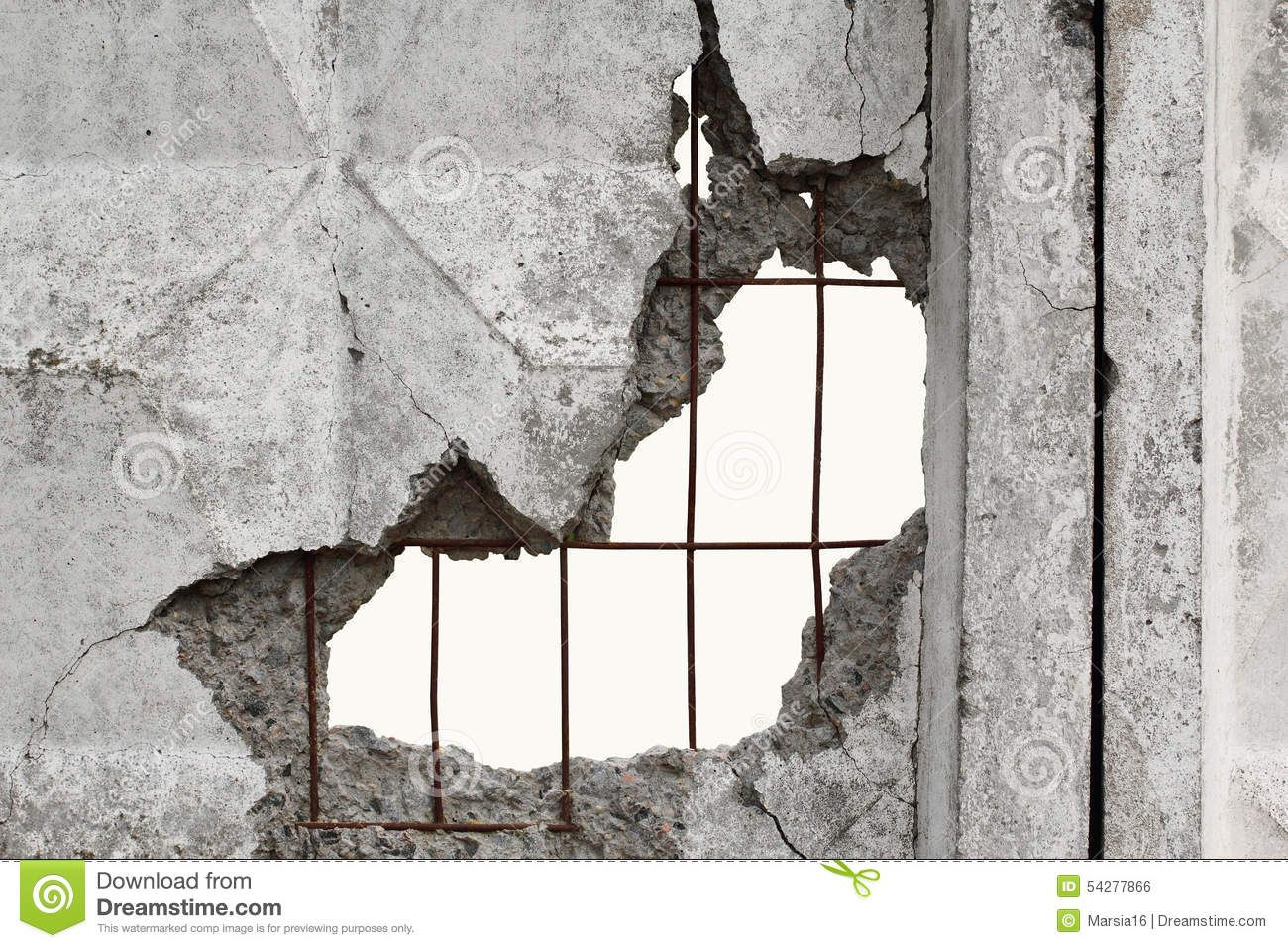 Hole In Concrete Wall : White isolated background through hole in a concrete wall