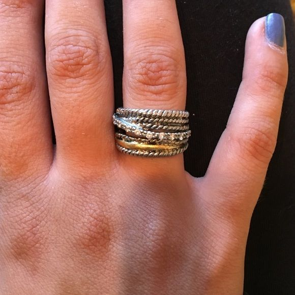 Gold and silver Ring Silver with gold layer and silver stones across Jewelry Rings