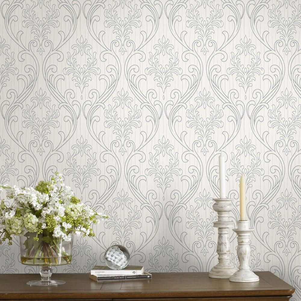 Graham & Brown Silver and White Royale Wallpaper 20940