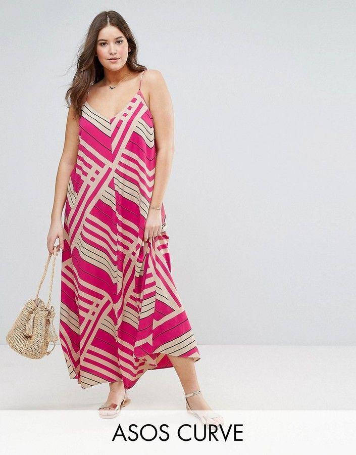 Asos Curve Asos Curve Maxi Dress In Cut About Stripe Plus Size