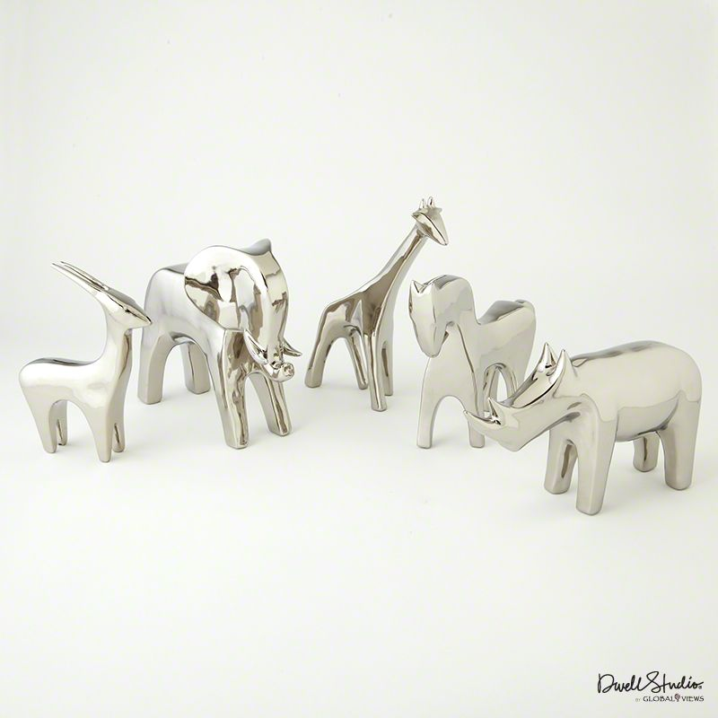 Global Views Horse: Silver Animals (Antelope, Elephant, Horse, Rhino) From