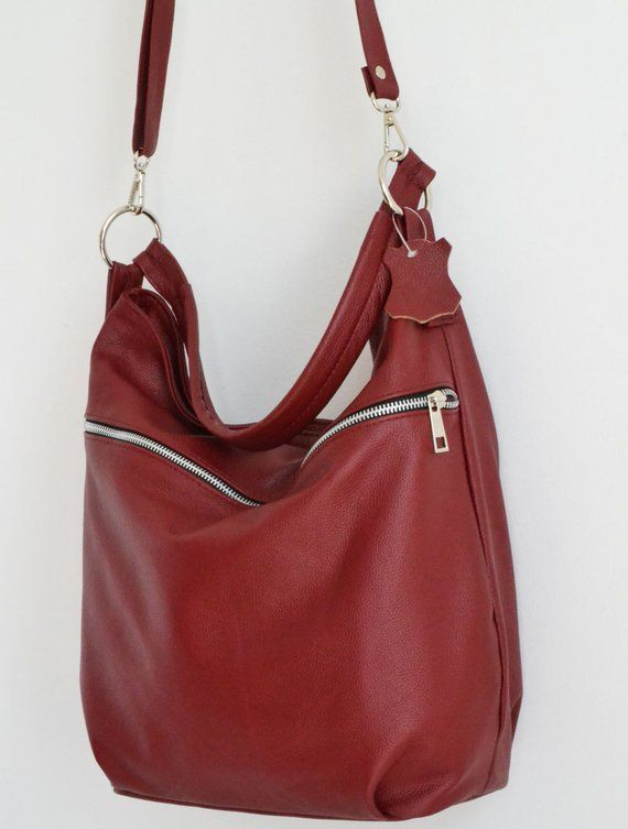 df8dbf61e592 BURGUNDY LEATHER HOBO Bag Crossbody Bag - Everyday Leather Shoulder ...