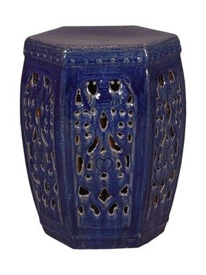 Blue Hexagon Ceramic Garden Stool