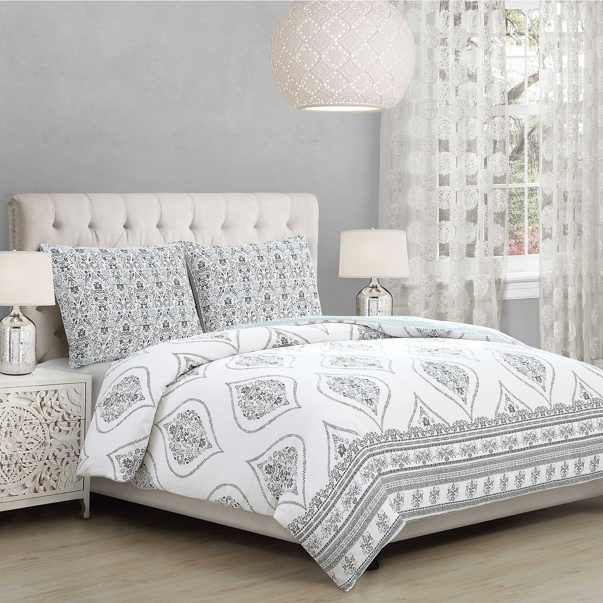 Solange Twin Twin Xl Comforter Set In White Grey Comforter Sets Home Decor Bedroom Bedroom Decor