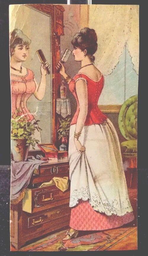 Jackson Corset Company Victoria #TradeCard 1880s Holmes Woman Looking In Mirror #JacksonCorsetCompany